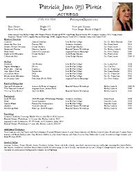 Resume Actor Sample by Sample Kids Resume Acting