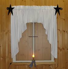 primitive country white muslin swag valance curtain 80