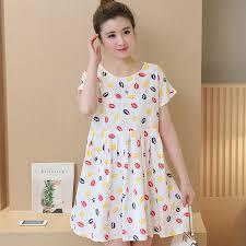 cute linen lip printing pregnancy dresses fashion korean loose