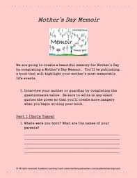 biography for mother biography a mother s day memoir handout by academic learning coach