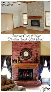 update the color of your brick stained brick fireplace stained
