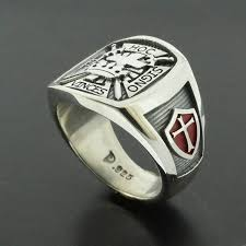 fashion cross rings images Knights templar masonic cross ring in sterling silver with red jpg