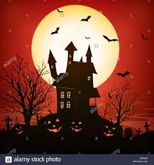 halloween sky background illustration of a spooky haunted house inside red halloween