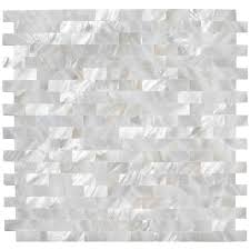 groutless kitchen backsplash of pearl backsplash arctic oyster white pearl shell