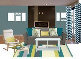 living room with teal accents print