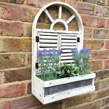 french vintage style wooden wall garden planter flower pots herbs