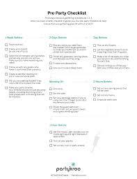 pre party checklist partykroo