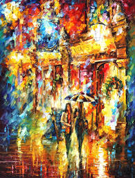 best painting friends in the city palette knife oil painting on canvas by