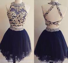 cute two pieces mini short homecoming dresses navy blue appliques