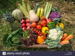 delivered fruit a seasonal veg box including fruit and vegetables ready to be