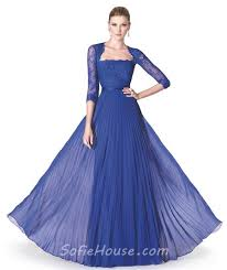 a line royal blue chiffon pleated special occasion evening dress
