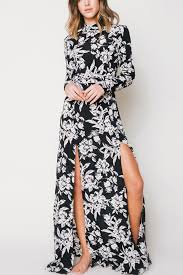 black and white dresses black white floral print backless sleeve maxi dress