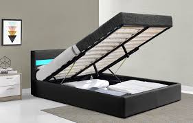 harmin music ottoman storage led leather bed double or king