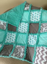 teal and gray elephants and chevrons rag quilt by zeedlebeez on