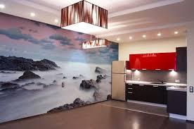 wandgestaltung ideen küche küche wandgestaltung ideen mit fototapete landschaft motiv