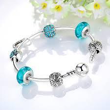 pandora style silver charm bracelet images Love is blue silver pandora style bracelet bangle combo set with jpg