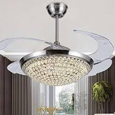Retractable Ceiling Light Tiptonlight Chrome Crystal Retractable Ceiling Fan 42 Inch Ceiling
