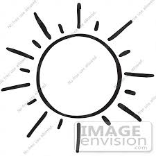 clipart of a shining sun in black and white royalty free vector