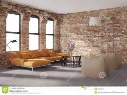 Fau Livingroom Contemporary Stylish Loft Interior Brick Walls Orange Sofa Stock
