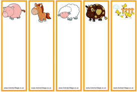 farm animal bookmarks blank