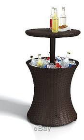Expandable Patio Table Patio Table Outdoor Pool Cooler Bar Beverage Wicker