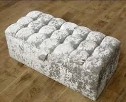 large cubbed silver crushed velvet ottoman toys storage