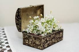 ornamental box with artificial flowers stock photo image 53126418