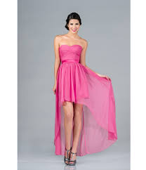 prom dresses pink strapless high low chiffon dress unique