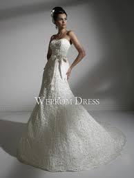clearance wedding dresses lace ribbon white chapel sleeveless strapless mermaid