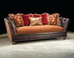 Leather Settees Uk Leather Sofa With Fabric Cushions Uk Henri Combination Tetrad