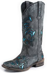 womens boots blue womens blue metallic underlay square toe boots black sanded