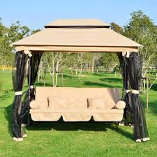 outsunny 01 0884 outdoor 3 person patio daybed canopy gazebo swing