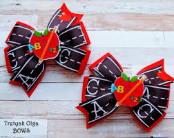 back to school hair bows kindergarten bows etsy
