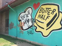 Wall Mural Shining Through The You Re My Butter Half Becomes Latest Austin Mural To Get Tagged