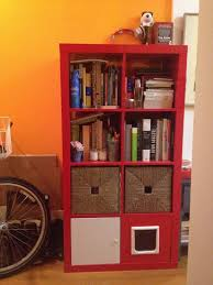 furniture red ikea expedit bookcase with drawer and books ideas