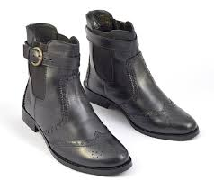 womens black pull on brogue chelsea boot style 6005