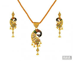 peacock design earrings 22k multicolor peacock set ajps56605 22k gold designer pendant