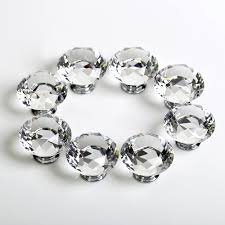 Crystal Cabinet Knobs Cheap 8pcs Top 31mm Crystal Diamante Crystal Glass Diamond Shaped Door