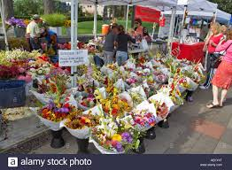 flowers for sale flowers for sale at lake oswego farmers market oregon stock photo