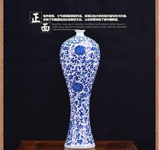 Blue Flower Vases Ceramic Home Decoration Hand Painting Blue And White Embossed