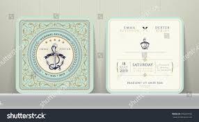 Vintage Wedding Invitation Cards Vintage Nautical Anchors Wedding Invitation Card Stock Vector