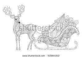reindeer sledges santa christmas tree gifts stock vector 519844312