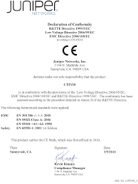 declaration of conformity for the ctp150 platform technical