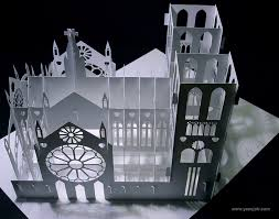 notre dame wrapping paper notre dame cathedral 180 degrees open pop up diy kirigami