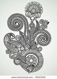 traditional design stock vector hand draw line art ornate flower design ukrainian