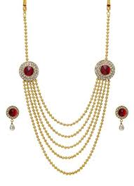 long ethnic necklace images Bindhani traditional gold plated ethnic long rani har haar red jpg