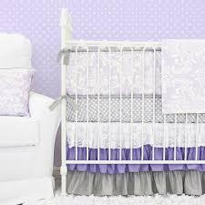 sweet lavender lace damask crib bedding set by caden lane