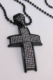 black rhinestone necklace images Black silver long metal chains cross rhinestones necklace men jpg