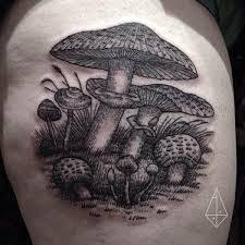 mushroom dotwork tattoo by hidden moon tattoo