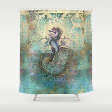 Seahorse Shower Curtain Collage And Digital Shower Curtains Society6